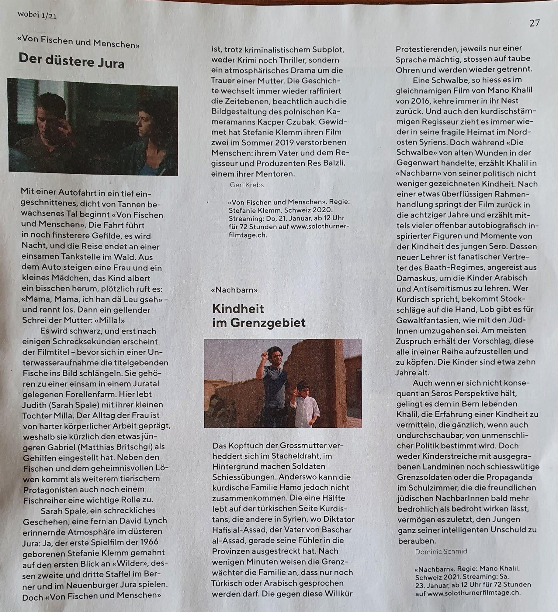 """Besprechungen von Von Fischen und Menschen von Stefanie Klemm und """"Nachbarn"""" von Mano Khalil…"""